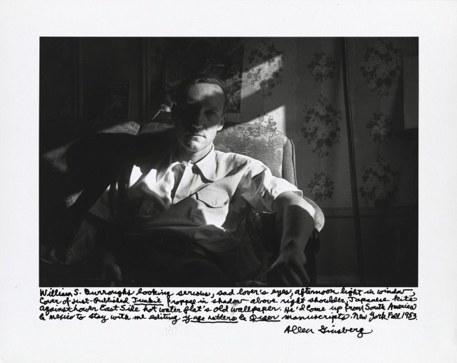 Allen Ginsberg. 'William S. Burroughs looking serious, sad lover's eyes, afternoon light in window…New York, Fall 1953' 1953; printed 1984-1997