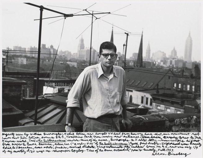 Allen Ginsberg. 'Myself seen by William Burroughs…our apartment roof Lower East Side between Avenues B & C…Fall 1953' 1953; printed 1984-1997