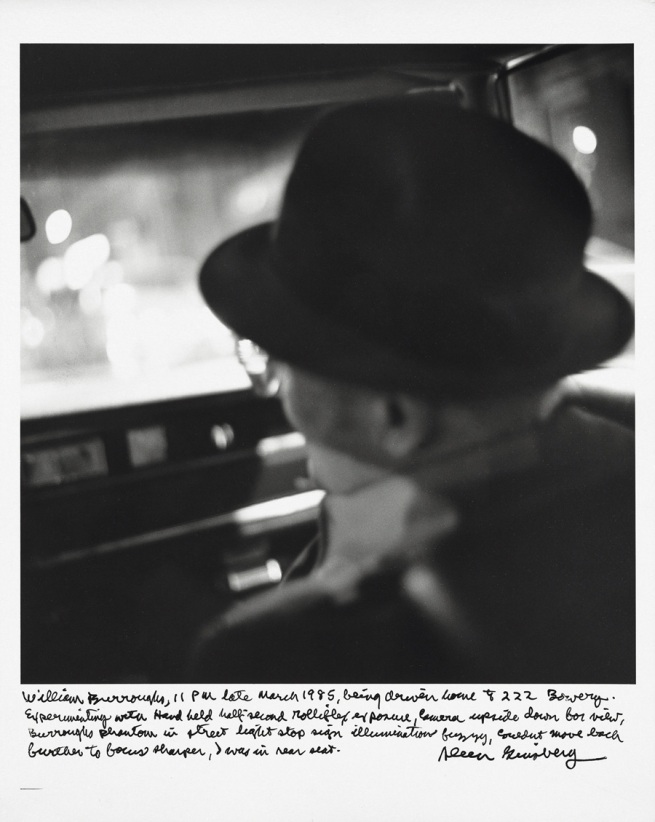 Allen Ginsberg. 'William Burroughs, 11 pm late March 1985, being driven home to 222 Bowery…' 1985