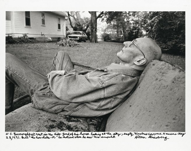 Allen Ginsberg. 'William Burroughs at rest in the side-yard of his house... Lawrence, Kansas May 28, 1991…' 1991