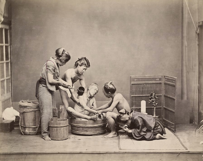 Unknown photographer, 'No title (Ritual washing for funeral)' c. 1880