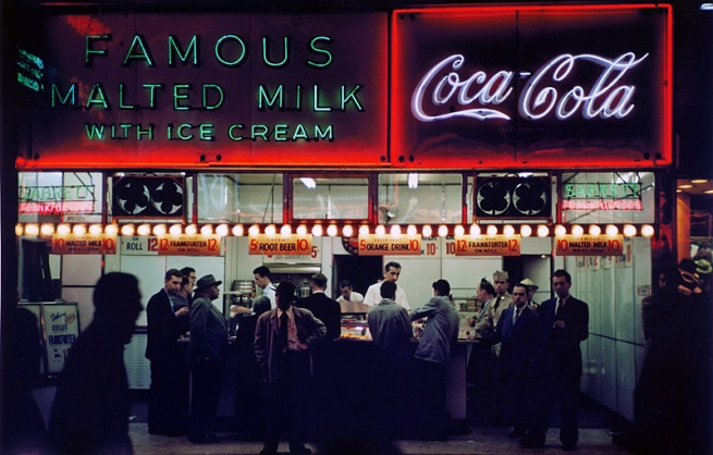 Ruth Orkin. 'Famous Malted Milk, NYC' c. 1950, printed 2010