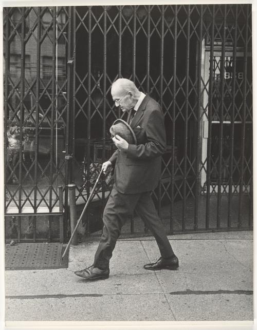 Leon Levinstein. 'Street Scene - Elderly Man Walking with Cane, New York City' 1970s