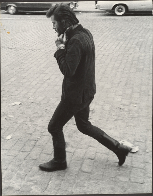 Leon Levinstein. 'Street Scene - Man in Boots Walking and Adjusting His Collar, New York City' 1960s-1970s