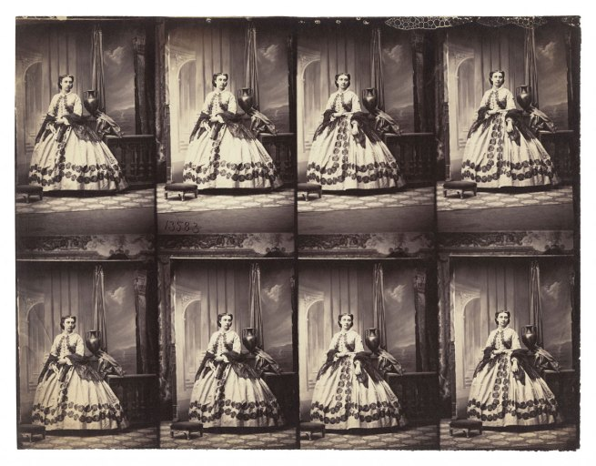 Camille Silvy. 'Proof sheet of Madame Silvy' c. 1865