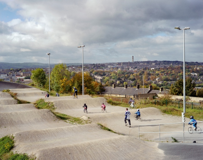 Simon Roberts 'Bradford Bandits BMX Club, Peel Park, Bradford, West Yorkshire, 17th October 2009' from the series 'We English' 2008