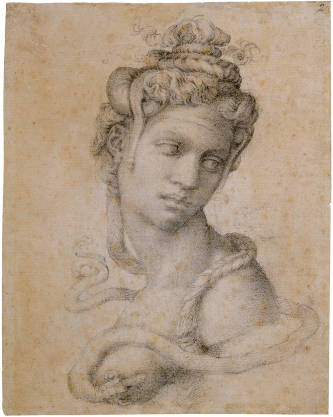 Michelangelo Buonarroti. 'Half-Length Figure of Cleopatra' (recto) c. 1533