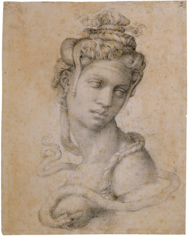 Michelangelo Buonarroti. 'Half-Length Figure of Cleopatra' (recto) c. 1533