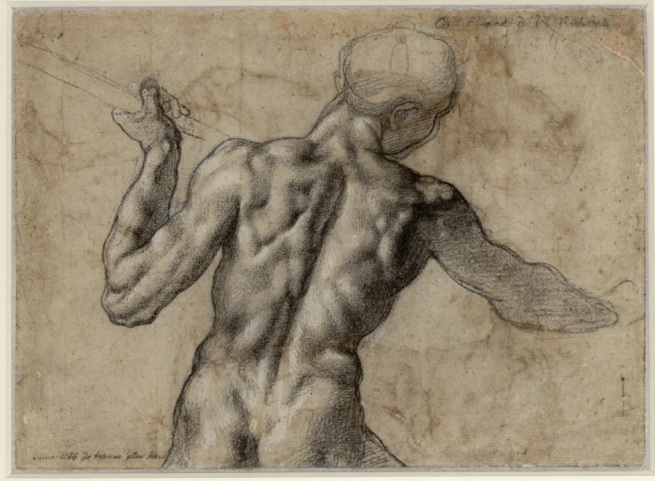 Michelangelo Buonarroti. 'Male Nude Seen From the Back With a Flag Staff' c. 1504