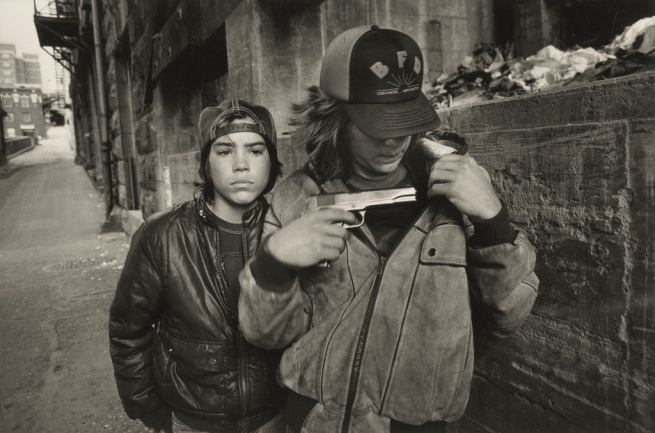 "Mary Ellen Mark (American, born 1940). '""Rat"" and Mike with a Gun, Seattle' 1983"