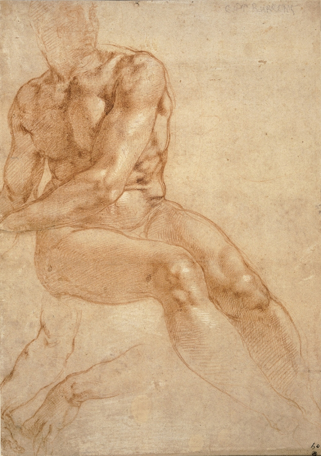 Michelangelo Buonarroti. 'Study of a Seated Young Man and Two Studies of the Right Arm' (Recto), around 1511