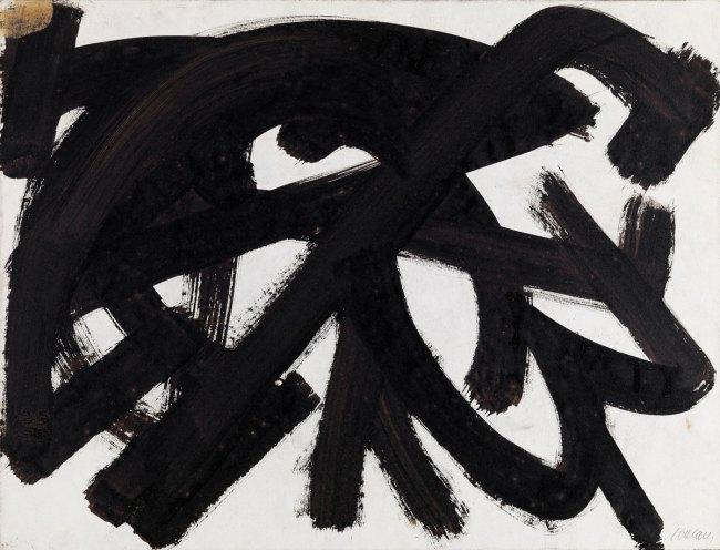 Pierre Soulages. 'Brou de noix sur papier' 1946
