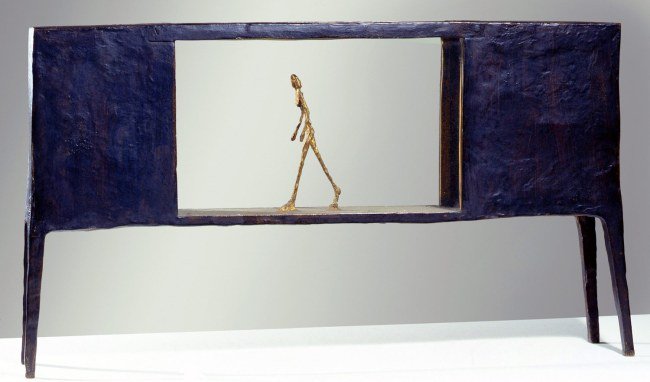 Alberto Giacometti. 'Figure in a Box between Two Boxes which are Houses' 1950
