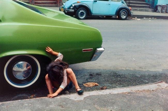 Helen Levitt. 'Squatting girl/spider girl, New York City' 1980