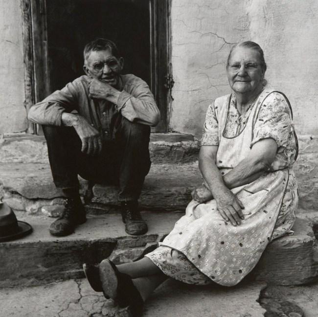 Dorothea Lange. 'Couple Seated on Porch, Gunlock, Utah' 1953