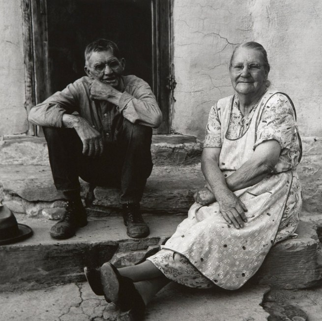 Dorothea Lange. 'Couple Seated on Porch, Gunlock, Utah' 1953