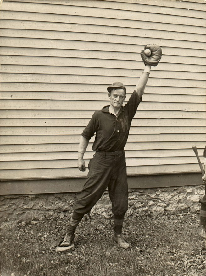 Unknown Artist, American School. '(Man Holding Baseball in Catcher's Mitt)' 1910