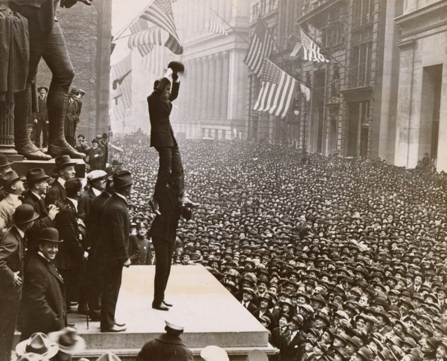 Unknown Artist, American School. '(Charlie Chaplin and Douglas Fairbanks Selling Liberty Loans during the Third Loan Campaign at the Sub Treasury Building on Wall Street, New York City)' 1918