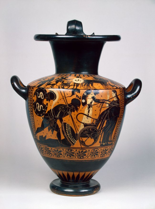 Black-figure hydria: Achilles with Hector's body c. 510 BC