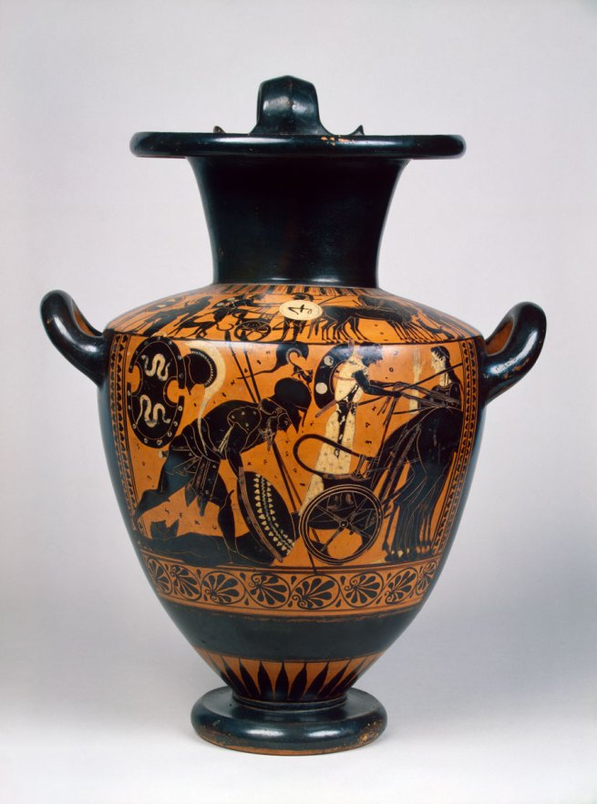 Black-figure hydria: Achilles with Hector's body