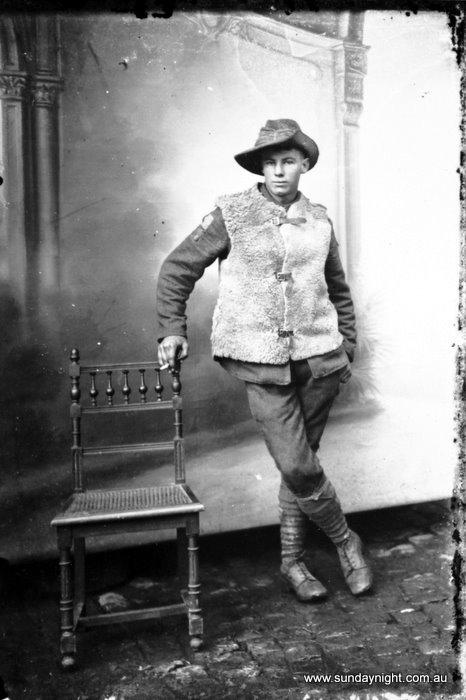 Antoinette or Louis Thuillier. 'No title (unknown Australian soldier wearing sheepskin jerkin)' c. 1916/17