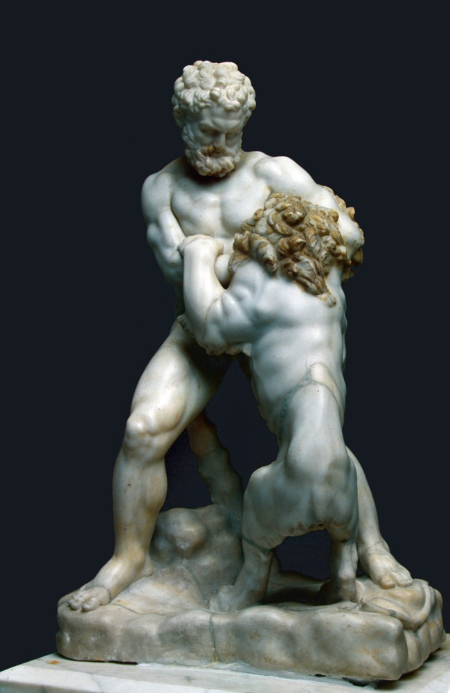 Heracles fighting the Nemaean lion Rome, 2nd-3rd century AD fragments with possible Italian additions 16th-17th century