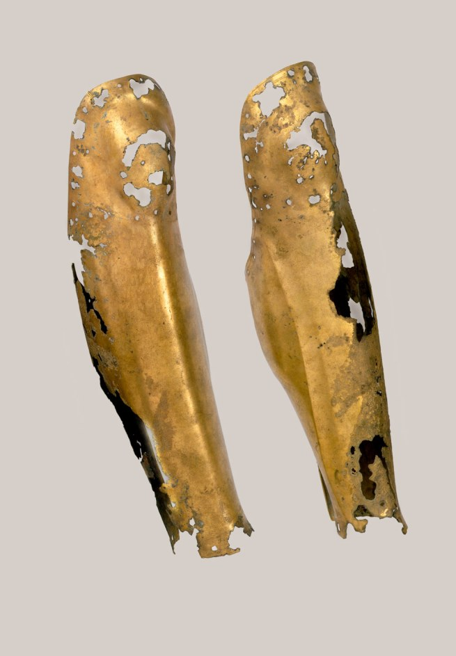 Bronze leg-protectors Greece 4th century BC