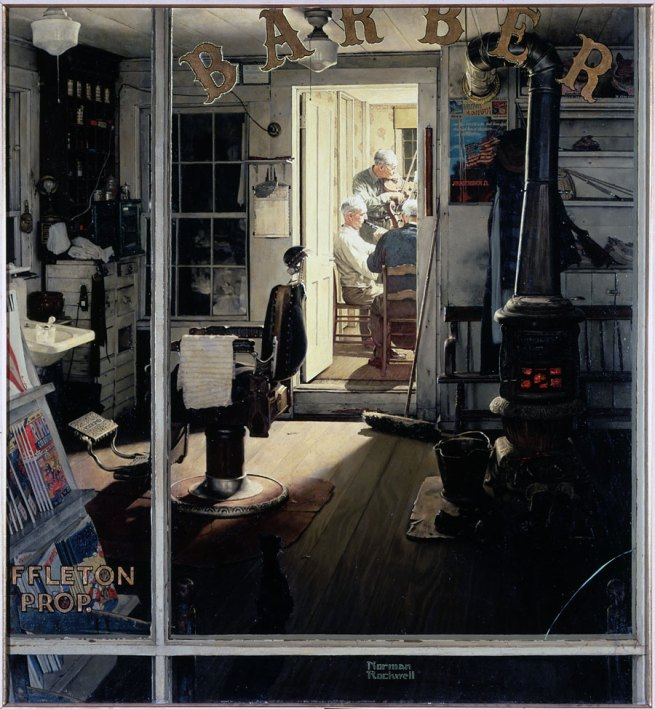 Norman Rockwell (American, 1894-1978) 'Shuffleton's Barbershop' 1950