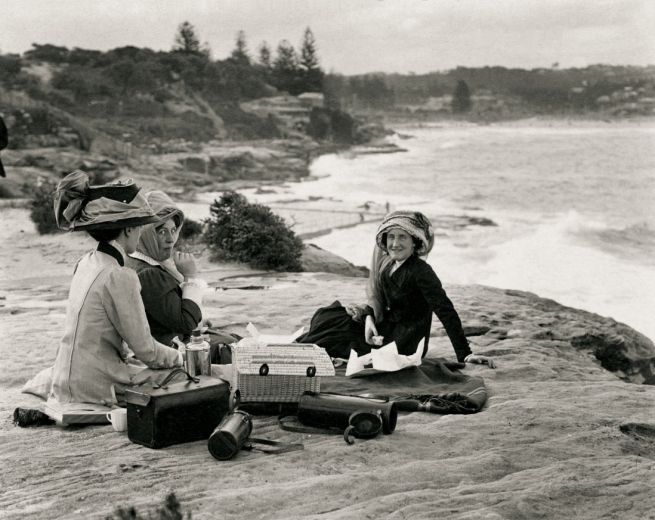 Arthur Wigram Allen (Australian, 1894-1967) 'This afternoon Marcia Lamb [centre] and I took Lord Orford and Lady Dorothy Walpole [right], also Nell Knox [left] for a drive to South Head, Bondi and Coogee' February 22, 1911