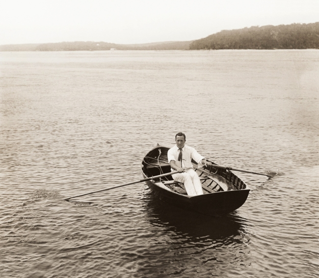 Arthur Wigram Allen(Australian, 1894-1967) 'Cecil Healy in the dinghy, 'Port Hacking', October 16 1904' 1904