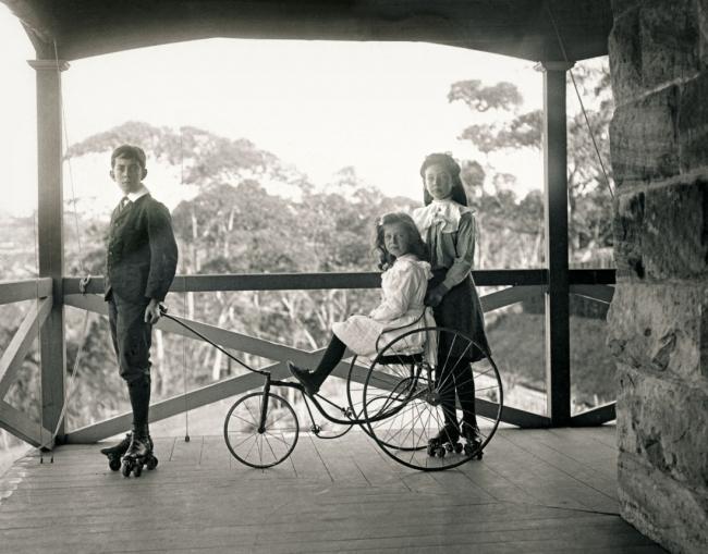Arthur Wigram Allen(Australian, 1894-1967) '[Roller skating on the verandah at Moombara]' Nd