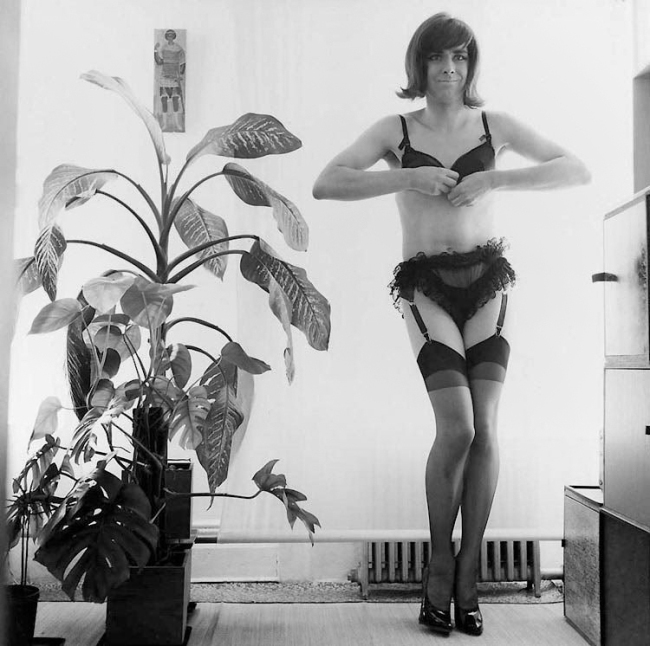 George Maciunas (American, born Lithuania 1931-1978) 'George Maciunas Performing for Self-Exposing Camera, New York' 1966
