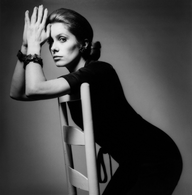 Jeanloup Sieff. 'Catherine Deneuve, dress Yves Saint Laurent, Paris, Vogue Italia' 1969