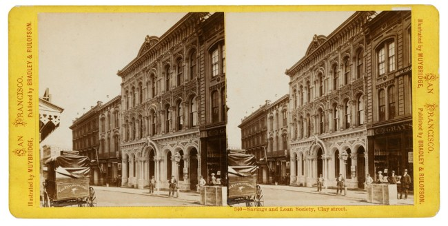 Eadweard Muybridge. Savings and Loan Society, Clay Street (340), 1869