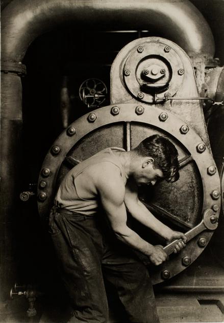 Lewis Hine. [Powerhouse mechanic] 1920 catalogue size
