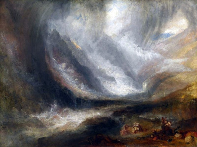 Joseph Mallord William Turner (English, 1775-1851) 'Valley of Aosta: Snowstorm, Avalanche, and Thunderstorm' 1836/37