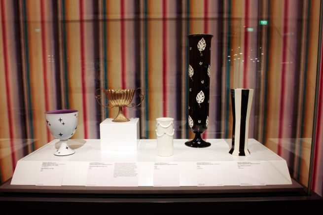Objects by Dagobert Peche (left, right and second right) and Josef Hoffmann in the exhibition 'Vienna - Art & Design' at the National Gallery of Victoria