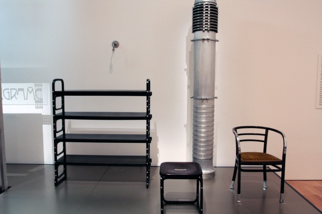 Otto Wagner objects including shelving, stool, chair and hot air blower (rear) in the exhibition 'Vienna - Art & Design' at the National Gallery of Victoria