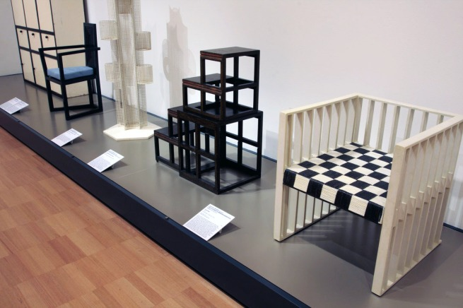 Koloman Moser designer. 'Armchair' 1903 and Josef Hoffmann designer. 'Collapsible library steps' 1905