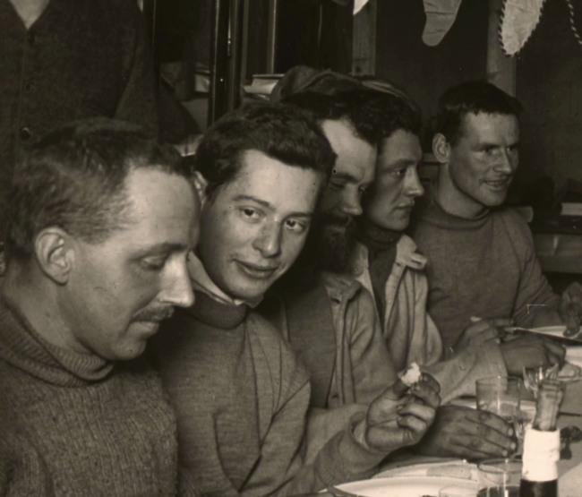 Herbert Ponting(British, 1870-1935) 'Scott's birthday dinner, June 1911'(detail) 1911