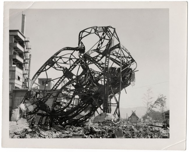 United States Strategic Bombing Survey, Physical Damage Division. '[Distorted steel-frame structure of Odamasa Store, Hiroshima]' November 20, 1945