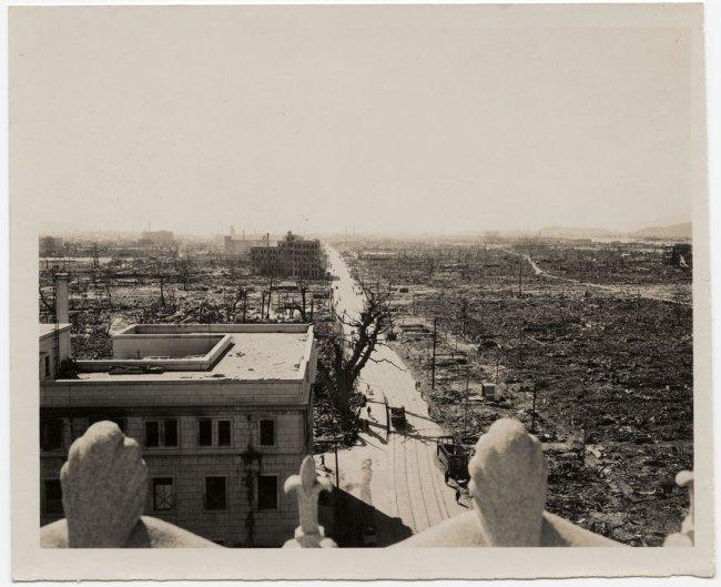 United States Strategic Bombing Survey, Physical Damage Division. '[Rooftop view of atomic destruction, looking southwest, Hiroshima]' October 31, 1945