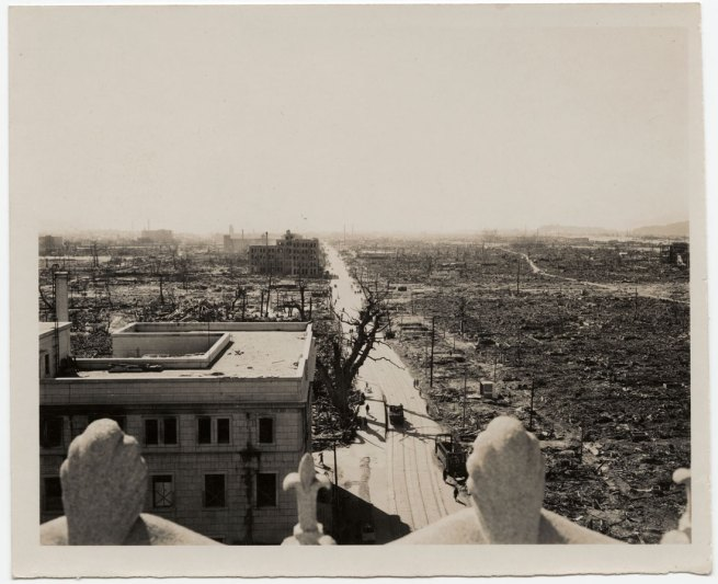 United States Strategic Bombing Survey, Physical Damage Division. '[Rooftop view of atomic destruction, looking southwest, Hiroshima]' October 31, 1945