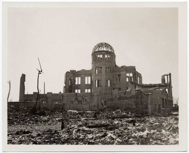 United States Strategic Bombing Survey, Physical Damage Division. '[Ruins of the Hiroshima Prefectural Commercial Exhibition Hall (A-Bomb Dome)]' October 24, 1945