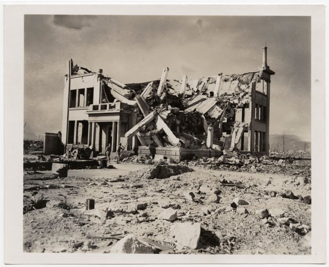 United States Strategic Bombing Survey, Physical Damage Division. '[Ruins of Chugoku Coal Distribution Company or Hiroshima Gas Company]' November 8, 1945