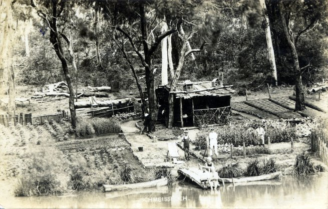 Paul Dubotzki(German, 1891-1969) 'A camp kitchen garden' Nd