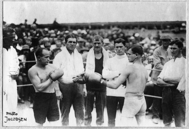 Heinrich Jacobsen. 'Boxer Frank Bungardy, third from left, who established a boxing and self-defence school at Holsworthy' (c) Dubotzki Collection, Germany