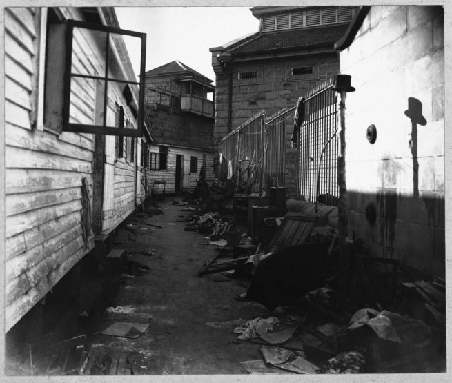 Paul Dubotzki(German, 1891-1969) 'Deserted Trial Bay Gaol barracks after the sudden departure of internees' 1915