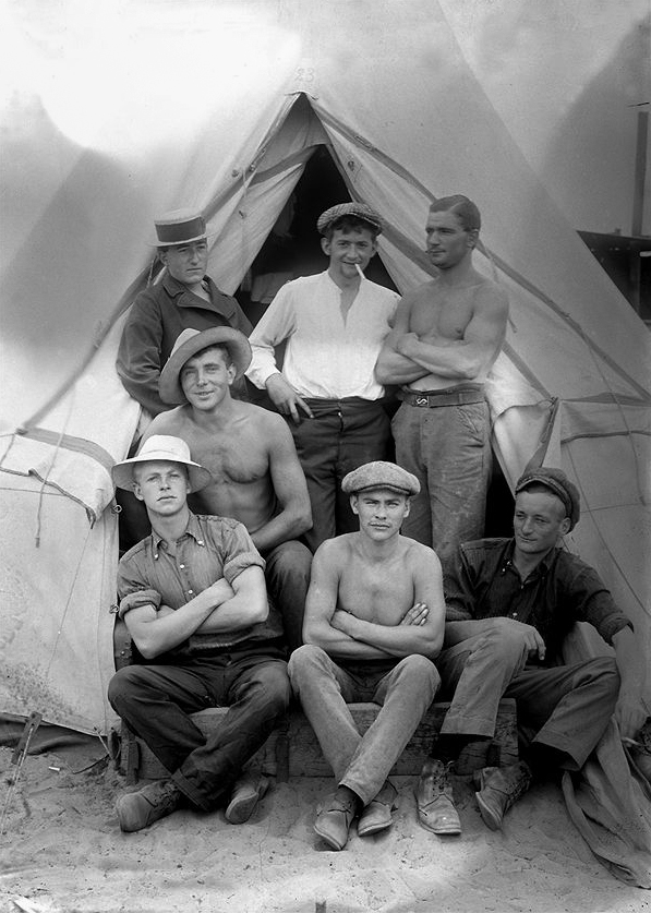 Paul Dubotzki (German, 1891-1969) 'Paul Dubotzki, standing centre, with a group of young Germans interned in Australia during the First World War' 1915