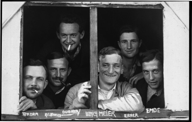 Paul Dubotzki(German, 1891-1969) 'Paul Dubotzki and Fellow Inmates Look Out From a Make-shift Hut on Torrens Island' 1914-15